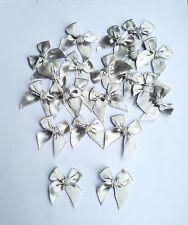 50 pcs Mini Silver Satin Ribbon Craft Bows Tied Trim wedding Doll Card Scrapbook