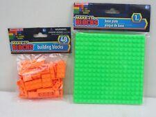 "Make-It Blocks Orange Building Blocks w/ Green 5"" x 5"" Base 48 + 1 pcs. (Pg128B)"