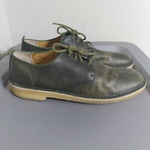 Clarks Desert London Men's Size 11.5M Shoes Green/Yellow Leather Lace Up Oxfords