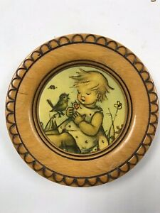 Vintage Wall Plaque From West Germany  Hummel? Goebel? Girl in field with bird