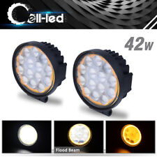 "2PCS 4"" inch 42W Round Flood LED Work Light Fog Lamp Offroad Driving SUV UTE 4WD"