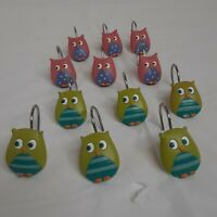 CUTE OWL SHOWER OR WINDOW CURTAIN HOOKS, 1 DOZEN, PINK/LIME