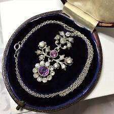 Antique SILVER Paste Necklace Amethyst Clear Foiled Articulated Fitted dome box