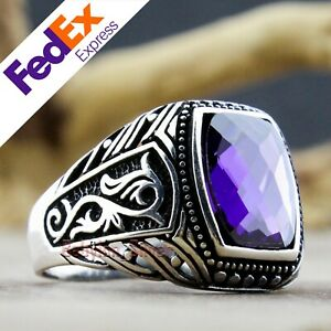 925 Sterling Silver Turkish Handmade Amethyst Men's Luxury Ring All Sizes