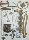 Job Lot Costume Jewellery - Bangles Tie Clips Necklaces Brooches Some Silver