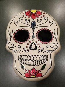 Mexican Folk ART HANDMADE CERAMIC Day Of The DEAD Skull MASK