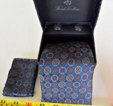 NOS Brooks Brothers Pure Italian Silk Tie ~ Pocket Square & Cufflink Set
