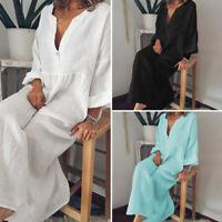 VONDA Women Oversized Baggy Casual Shirt Dress Batwing Sleeve Long Dress Kaftan