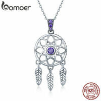 BAMOER S925 Sterling silver Necklace Leaves Dangle With CZ For Ladies Jewelry