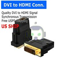 DVI-D Male (24+1 pin) to HDMI Female (19-pin) HD HDTV Monitor Display Adapters