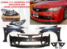 New 06-11 Honda Civic JDM Mugen RR CONVERSION Bumper Fenders Headlight OE Hood