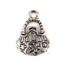 3 Breloques _ SAC A MAIN argenté 16X14mm _ Perles charms création bijoux _ B128