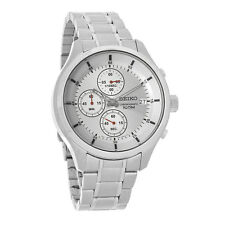 Seiko Mens Silver Date Dial Stainless Steel Quartz Chronograph Watch SKS535