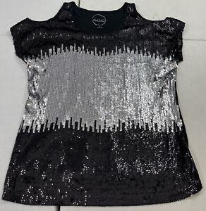 INC International Concepts Women's Cold Shoulder Sequence Shirt Size Large