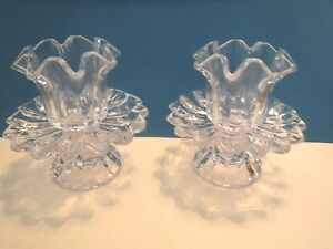 PAIR OF TWO PIECE GLASS VOTIVE CANDLE HOLDERS  - VINTAGE - EXCELLENT CONDITION