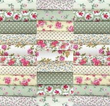 "50 x 4"" PATCHWORK QUILTING FABRIC SQUARES COTTON MATERIAL GREEN VINTAGE FLORAL"