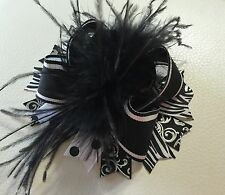 Handmade Black And White  Over The Top Ostrich Feather Boutique Hair Bows
