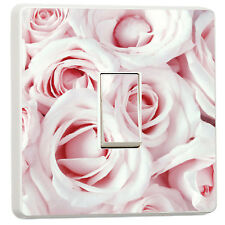 Baby pink roses close up photo light switch sticker (35405676)