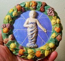 CHRIST CHILD vtg italian art pottery wall plaque wreath xmas della robbia infant