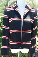 LINDA ALLARD ELLEN TRACY RED, WHITE & BLUE Long Sleeve, Open Front Jacket
