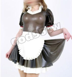 100% Latex Rubber Gothik Goth Maid Dress Kleid Apron Ganzanzug Catsuit Kostüm