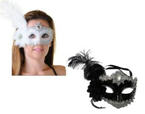 WOMENS LADIES FACE MASK WITH FEATHER & RIBBON MASQUERADE FANCY HEN DRESS COSTUME