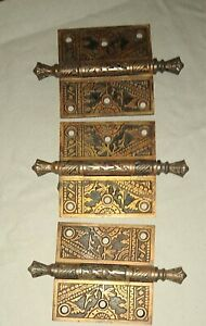 Vintage Antique  BRASS - BRONZE 1800's set of 3 Door HINGES Victorian - Eastlake