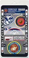 US Marine Corps Auto Combo - License Frame, Auto Emblem, 3 Cling Decals USMC USA
