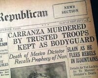 VENUSTIANO CARRANZA Assassination Murder MEXICAN Revolution 1920 Old Newspaper