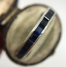 Antique White Gold Sapphire Art Deco Eternity Band Ring Wide Size N