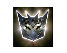 Glowing LED Transformers DECEPTICONS Car Emblem WHITE auto badge truck custom