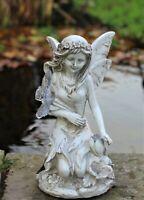 Garden Solar Ornament Cherub Fairy Angel Home Decor Figurine Statue 24cm Tall