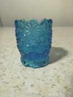 L E SMITH DAISY AND BUTTON BLUE TOOTHPICK HOLDER EXCELLENT