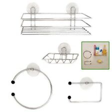 Chrome Wire Bathroom Shower Accessories Set Kit Modern Suction Easy Fitting S247