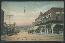 AZ Globe H/C ROTOGRAVURE 1910's DIRT STREET SCENE Wagon STORES by Albertype