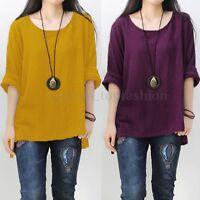 ZANZEA Women Round Neck Oversized T-Shirt Loose Blouse Pullover Tops Jumper Plus