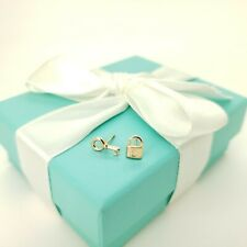 Tiffany & Co. 18k Yellow Gold Mini Padlock & Key Hole Love Stud Earrings