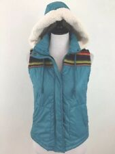 Mossimo Juniors Hooded Vest Medium Blue Faux Shearling Embroidered Sleeveless