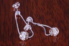 Dangle Earings Hawaiian Jewelry Sterling Silver Plumeria Bead Chain