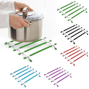Silicon and Stainless Steel Kitchen Trivet Worktop Saver Hot Pot Pan Stand Rack.