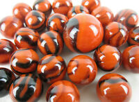 25 Glass Marbles BENGAL TIGER Orange/Brown Stripe Shooter vtg style game Swirl