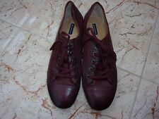 New BELMONDO Ladies Burgundy Soft Leather Flat Lace Up Shoes 42 EU - 9 UK