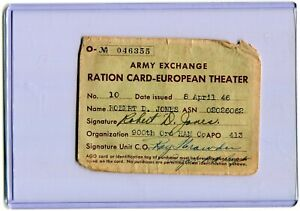 Army Exchange Ration Card-European Theater - 8, April 1946 - 900th Ord HAM Co