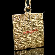 BINGO CARD Lucky Casino 24k GOLD Layered Charm Pendant + LIFETIME GUARANTEE