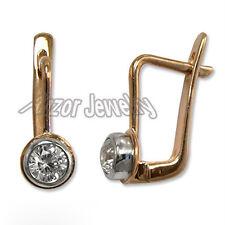 Russian Style Small Earrings For Children  .40 CT G-I1 Diamond 14k Rose Gold