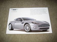 Aston Martin V12 Vanquish Prospekt Blatt single sheet Brochure von 2001