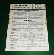 Original Bogen Model C35, C60, C100 Manual
