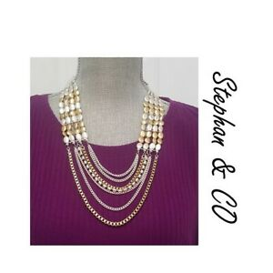 STEPHAN & CO SILVER GOLD TONE PINK STATEMENT NECKLACE NWT