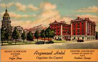 Unused Postcard Argonaut Hotel Denver Colorado CO Opposite the Capitol Linen
