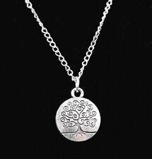 Idée cadeau Saint Valentin , collier chaine argentée , pendentif  arbre de vie